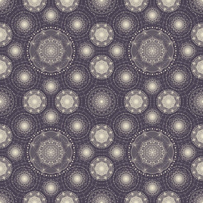 Spirograph lace - purple and cream