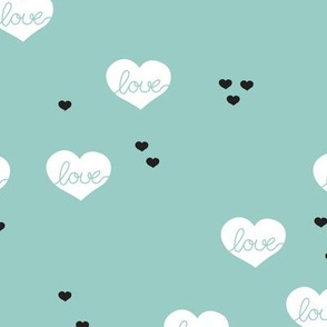 Sweet love scandinavian hearts cool pastel blue valentine and wedding theme mint