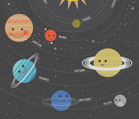Solar system quilt panel fabric bashfulbirdie spoonflower for Space fabric panel