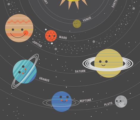 Solar System Quilt Panel fabric - bashfulbirdie - Spoonflower