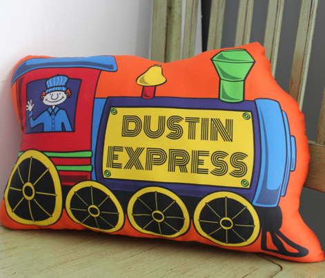 Custom Train Pillow - SAWYER