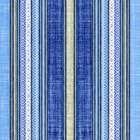 Faux linen ticking in denim blue fabric by joanmclemore on Spoonflower - custom fabric