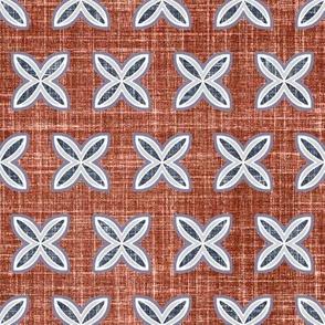 Faux linen motif in mahogany