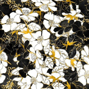 Watercolor Roses Floral in gold and black