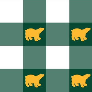 green gingham gold bears large