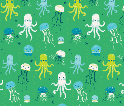 Ocean Fun Jellyfish fabric by zesti on Spoonflower - custom fabric