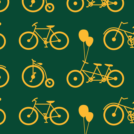 Gold Bicycles on Green fabric by aprilmariewade on Spoonflower - custom fabric