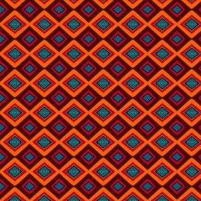 1970s orange brown and blue diamond