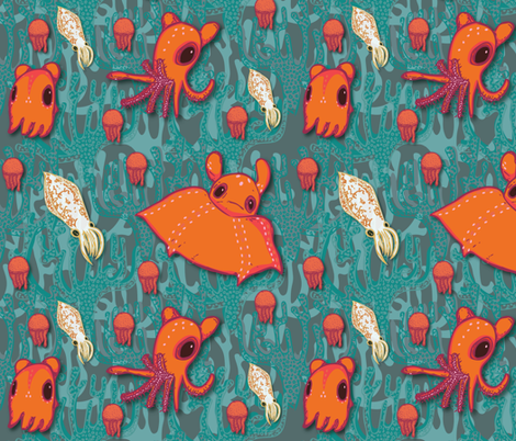 Dumbo Octopi & Squid- Dark fabric by amyjeanne_wpg on Spoonflower - custom fabric