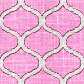 Faux Linen Medallion Motif in pink