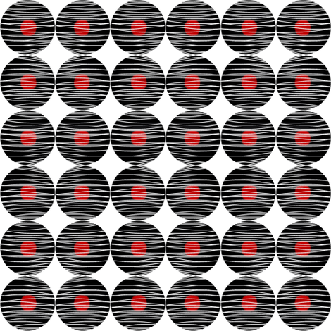 Woven Black Circles Red Dot fabric by eve_catt_art on Spoonflower - custom fabric