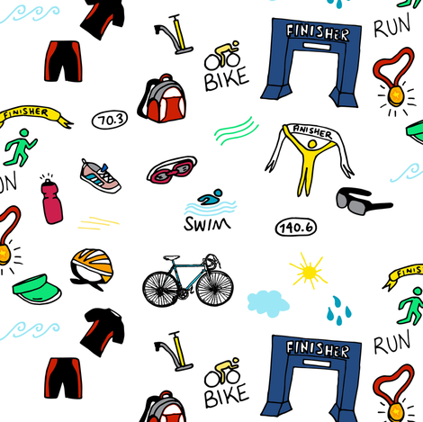 Triathlon Doodles fabric by heatherdoucette on Spoonflower - custom fabric