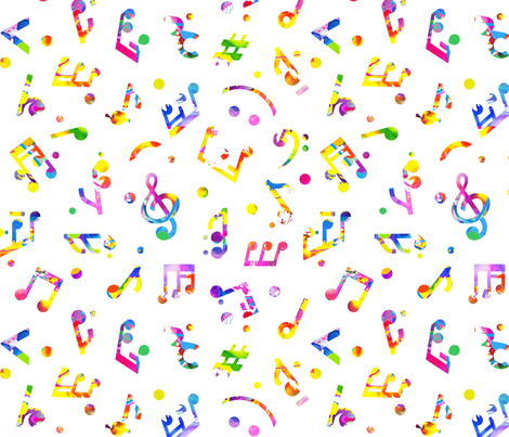 Music Notes Colored smaller scale fabric by happyart on Spoonflower - custom fabric