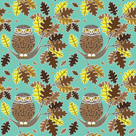 Owl and Oak blue green fabric by amyperrotti on Spoonflower - custom fabric