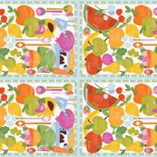 2016 Fruits and Veggies Tea Towel