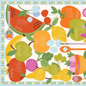 2016 Fruits and Veggies Tea Towel
