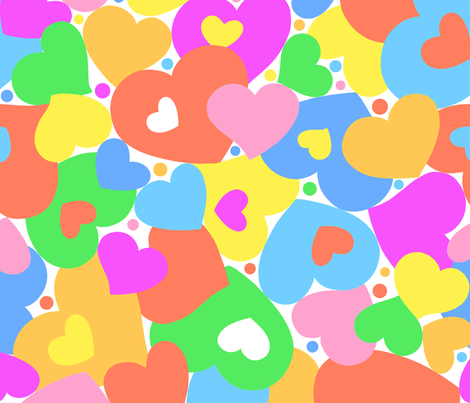 Happy Hearts softer colors fabric by happyart on Spoonflower - custom fabric