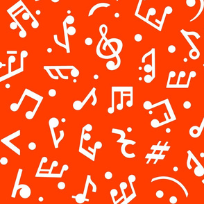 Music Notes on Red BG medium scale