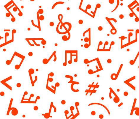 Music Notes in Red medium scale fabric by happyart on Spoonflower - custom fabric