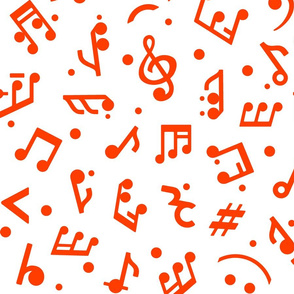 Music Notes in Red medium scale