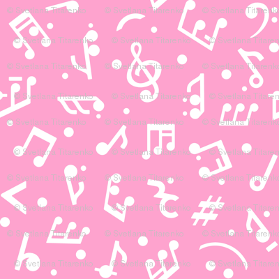 Music Notes on Pink BG large scale