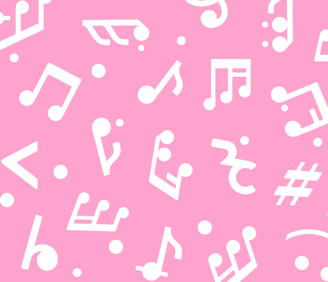 Music Notes on Pink BG large scale fabric by happyart on Spoonflower - custom fabric