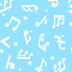 Music Notes on Blue BG large scale