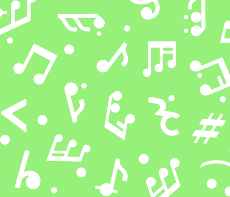 """Music Notes on Green BG"" large scale. fabric by happyart on Spoonflower - custom fabric"