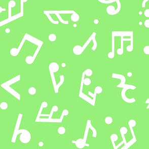 """Music Notes on Green BG"" large scale."