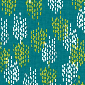 Abstract Scales on Faux Linen- Teal