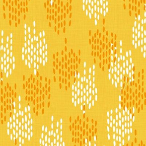 Abstract Scales on Faux Linen- Yellow