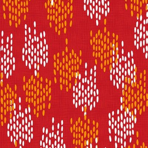 Abstract Scales on Faux Linen- Red