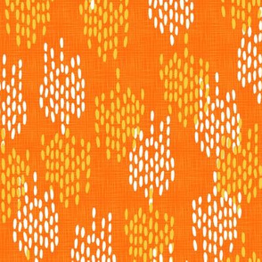 Abstract Scales on Faux Linen- Orange