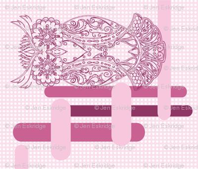 Pink Raspberry Owl Cheater Quilt Panel