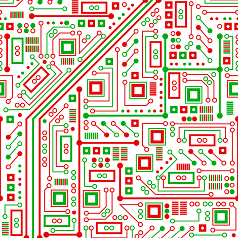 Merry Robot Circuits (light) fabric by robyriker on Spoonflower - custom fabric