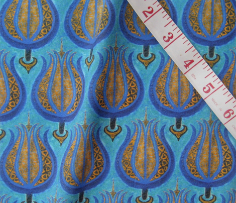 Tulips woven in old gold on cerulean blue by Su_G