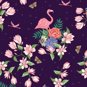 Flamingo and Magnolia Blossom