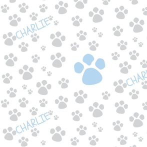Paw Prints  MED - blue gray-P ERSONALZIED