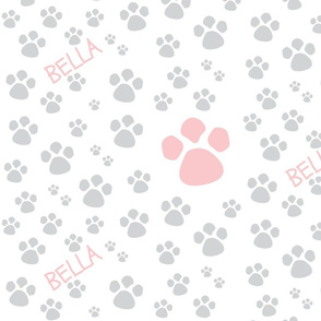 Paw Prints  MED - pink peach gray-PERSONALIZED