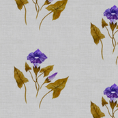 Morning Glory in Royal Purple and Copper on Silver Linen