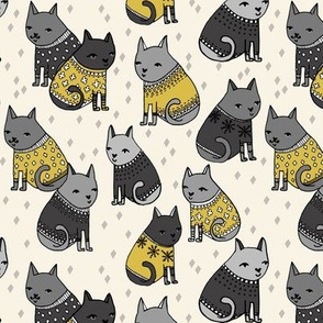 cats in sweaters // mustard and grey illustration of cats wearing christmas holiday sweaters for fashion fabrics and cat lady gifts