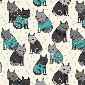 cats in sweaters // grey and blue fashion print for winter christmas cats and repeating fashion print textiles