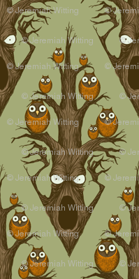 Owls in a Tree - green
