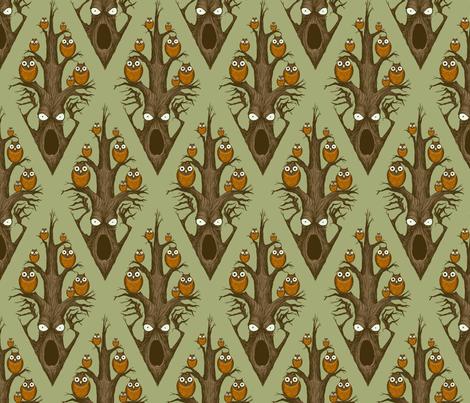 Owls in a Tree - green fabric by thecalvarium on Spoonflower - custom fabric