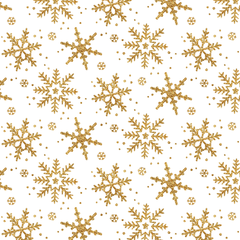 Snowflake Shimmer in Gold, Half Scale fabric by willowlanetextiles on Spoonflower - custom fabric