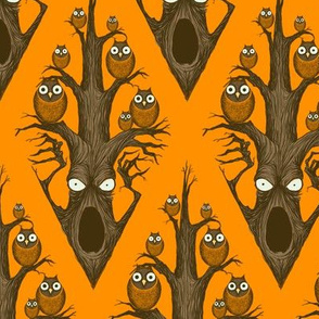 Owls in a Tree - orange