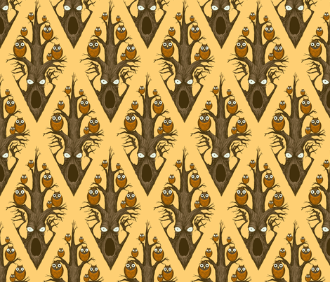 Owls in a Tree - gold fabric by thecalvarium on Spoonflower - custom fabric