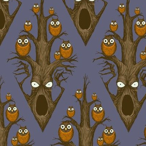 Owls in a Tree - blue