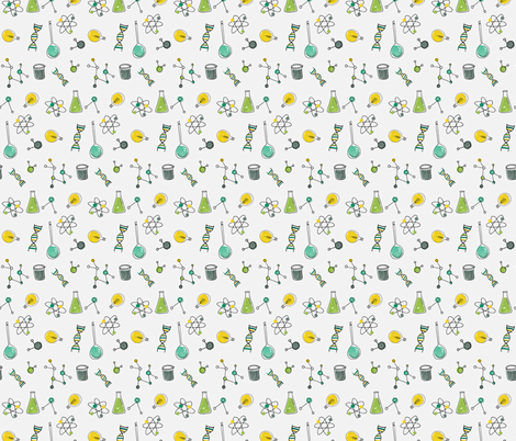 Science is Cool - light grey fabric by emilyannstudio on Spoonflower - custom fabric