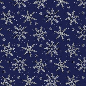Snowflake Shimmer in Navy / half scale